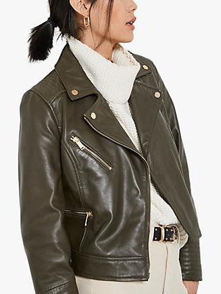 Mint Velvet Leather Zip Biker Jacket