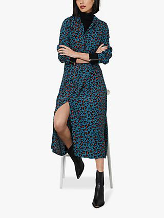 Mint Velvet Charlie Leopard Midi Shirt Dress, Multi