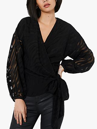 Mint Velvet Tiger Stripe Wrap Top, Black