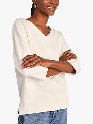 Jigsaw V-Neck Cotton Sweatshirt, Calico
