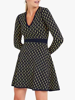 Damsel in a Dress Diamond Knit Abstract Mini Dress, Navy/Lime