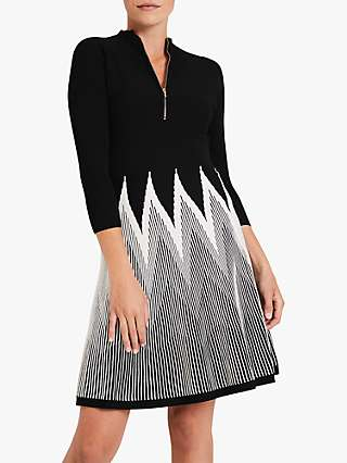 Damsel in a Dress Adela Knitted Abstract Mini Dress, Black/White