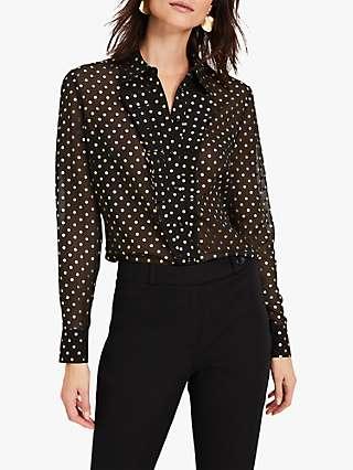 Damsel in a Dress Elma Spot Print Blouse, Black/Gold