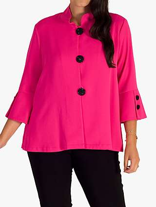 Chesca Pleated Button Through Jacket, Hot Pink