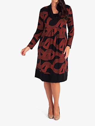 Chesca Swirl Jersey Dress, Black/Orange