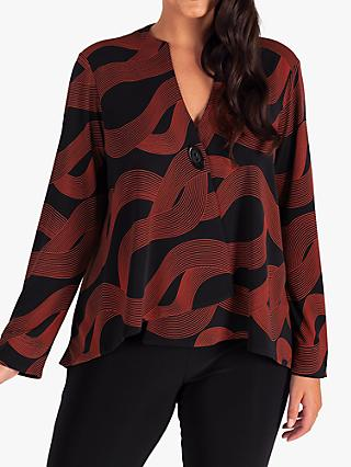 chesca Swirl Single Button Jersey Jacket, Black/Orange