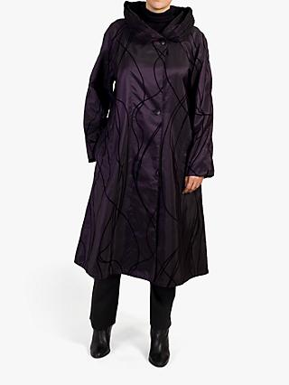 chesca Reversible Flock Print Pleat Collar Coat