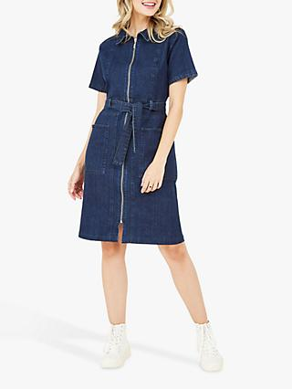 Yumi Denim Zip Shirt Dress, Blue