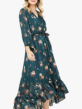 Yumi Floral Print Asymmetric Midi Dress, Green