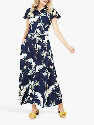 Yumi Crane Floral Print Maxi Dress, Navy