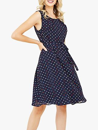 Yumi Spot Print Skater Dress, Navy