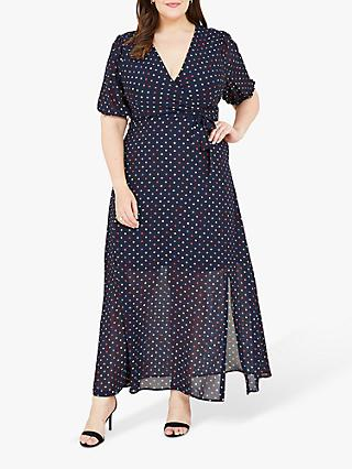 Yumi Curves Spot Print Skater Dress, Blue