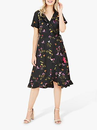Yumi Bird Print Wrap Dress, Black