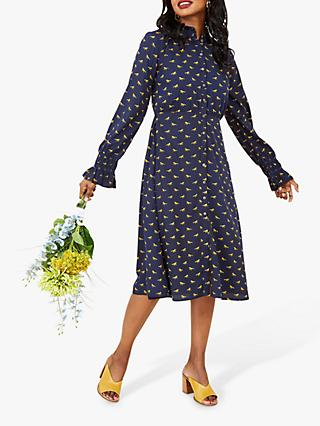 Yumi Horse Print Shirt Dress, Navy