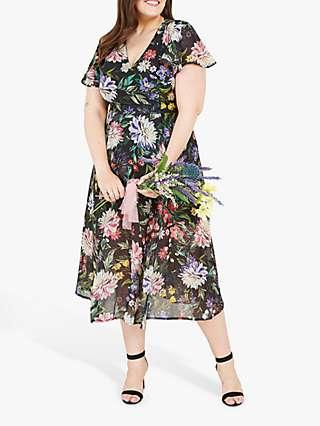 Yumi Curves Floral Print Wrap Midi Dress, Black