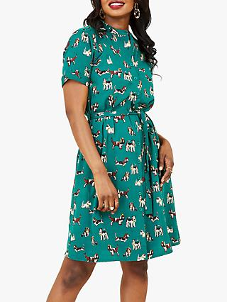 Yumi Dog Print Shirt Dress, Green