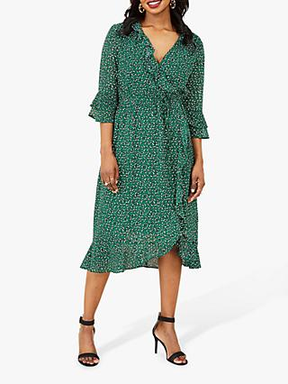 Yumi Leopard Print Ruffle Wrap Dress, Green