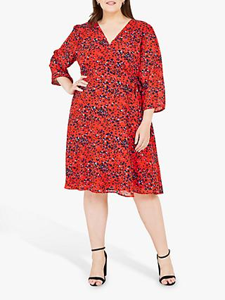 Yumi Curves Animal Print Wrap Dress, Red