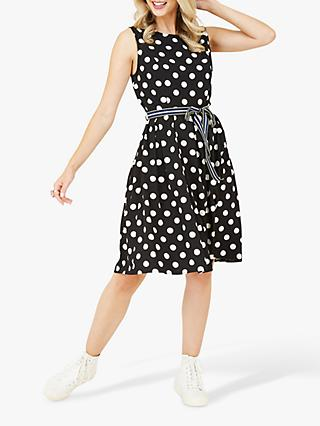 Yumi Polka Dot Skater Dress, Black