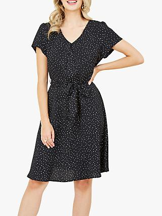 Yumi Spotted Skater Dress, Black