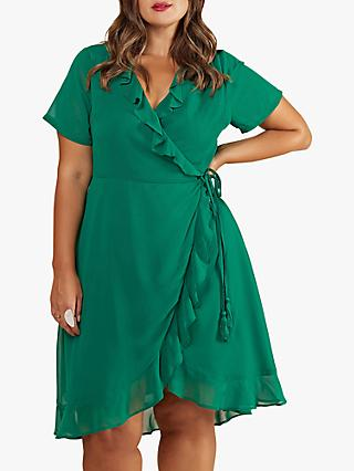 Yumi Curves Wrap Tassel Tie Dress, Green