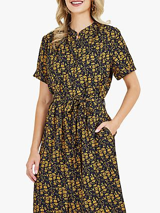 Yumi Shirt Floral Knee Length Dress, Mustard