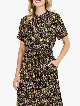 Yumi Shirt Floral Knee Length Dress, Mustard