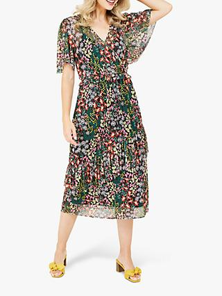 Yumi Butterfly Floral Print Wrap Dress, Black/Multi