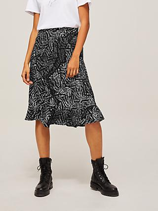 AND/OR Sarah Boho Spot Skirt, Black/Multi