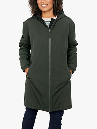 Seasalt Turning Tide Reversible Longline Coat, Mid Green