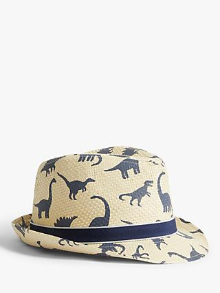John Lewis & Partners Kids' Dinosaur Straw Trilby Hat, Neutral
