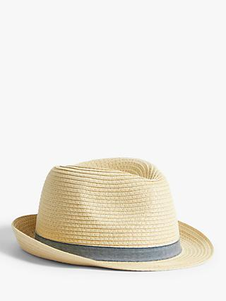 John Lewis & Partners Kids' Classic Straw Trilby Hat, Neutral