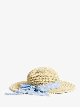 John Lewis & Partners Kids' Floral Scarf Straw Hat, Neutral