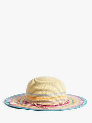 John Lewis & Partners Kids' Rainbow Straw Hat, Multi