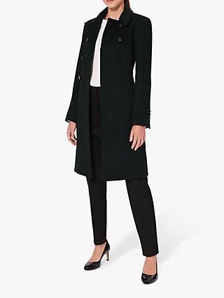 Hobbs Petite Sylvia Double-Breasted Coat, Dark Green