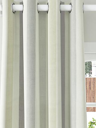 John Lewis & Partners Penzance Stripe Pair Lined Eyelet Curtains