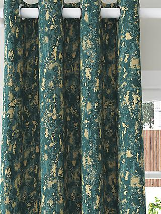 John Lewis & Partners Metallic Pair Lined Eyelet Curtains