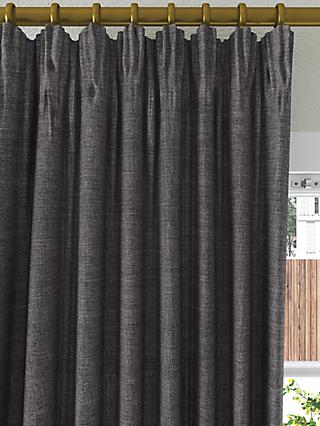 John Lewis & Partners Textured Weave Recycled Polyester Pair Blackout Lined Pencil Pleat Curtains