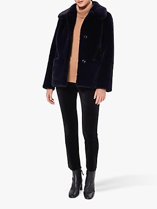 Hobbs Monique Faux Fur Coat, Midnight