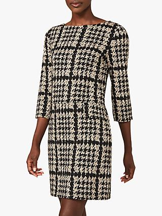 Phase Eight Amani Dogtooth Tunic Dress, Camel/Black