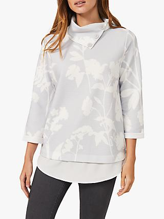 Phase Eight Mica Print Top, Soft Grey