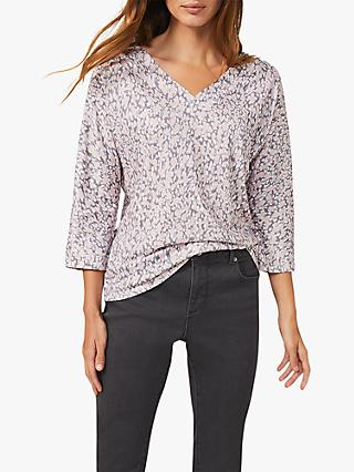 Phase Eight Florentine Print Top, Soft Pink/Multi