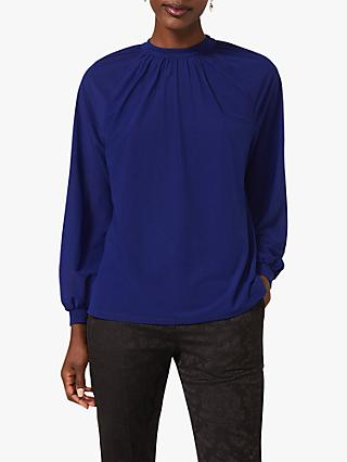 Phase Eight Shona Ruched Neck Blouse, Cobalt