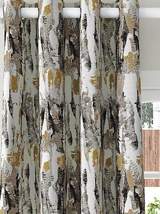 Harlequin Takara Pair Lined Eyelet Curtains, Mustard/Charcoal