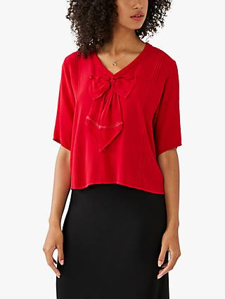 Ghost Bow Blouse, Red