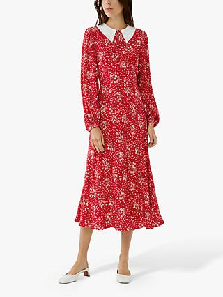 Ghost Kelsea Floral Crepe Midi Dress, Scattered Bouquet Red