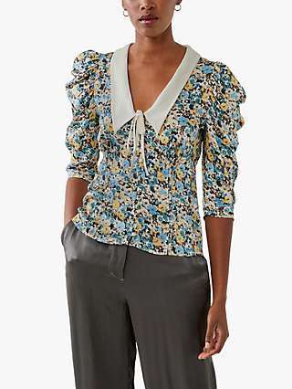 Ghost Aia Collared Blouse, Florence Ditsy Blue/Cream