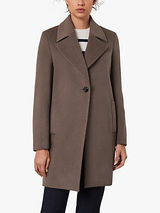 Jaeger Cocoon Single Breasted Wool Coat, Mink