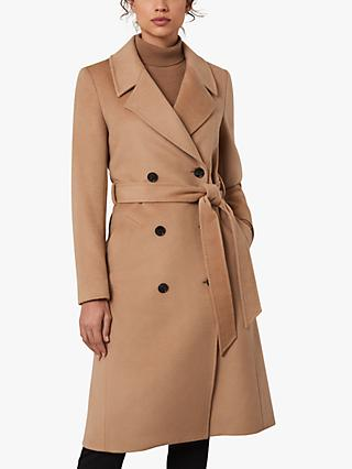 Jaeger Belted Double Breasted Wool Coat, Camel