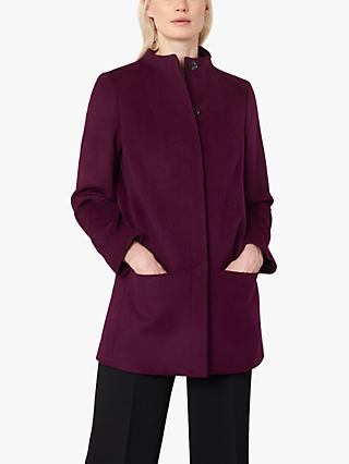 Jaeger Boxy Wool Pea Coat, Burgundy